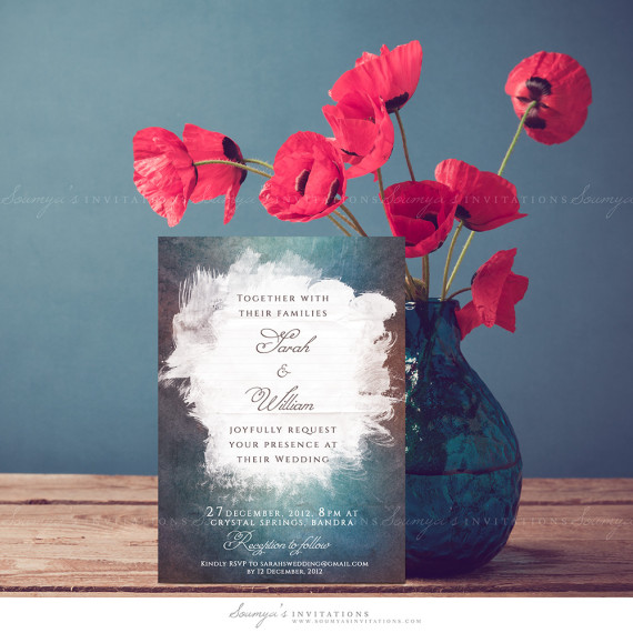 Watercolor Wedding Invitation Blue Brown Wedding Invitation