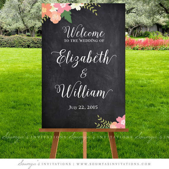 Chalkboard Wedding Signs Welcome Sign Printable Calligraphy Rustic Decorations Fl Ceremony