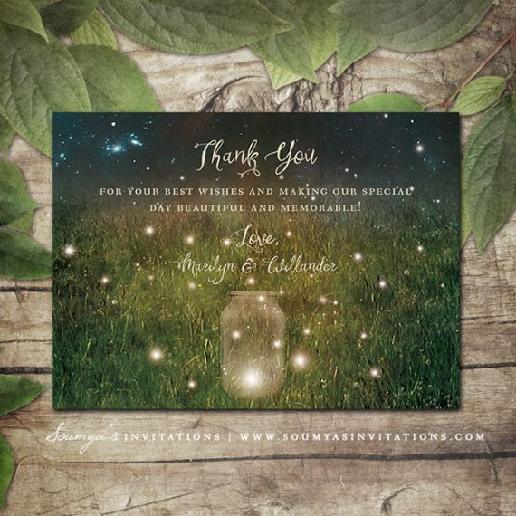 Rustic Garden Lights Wedding Invitation, Mason Jar Wedding ...