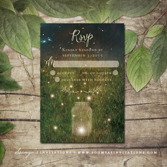 Rustic Garden Lights Wedding Invitation Mason Jar Wedding