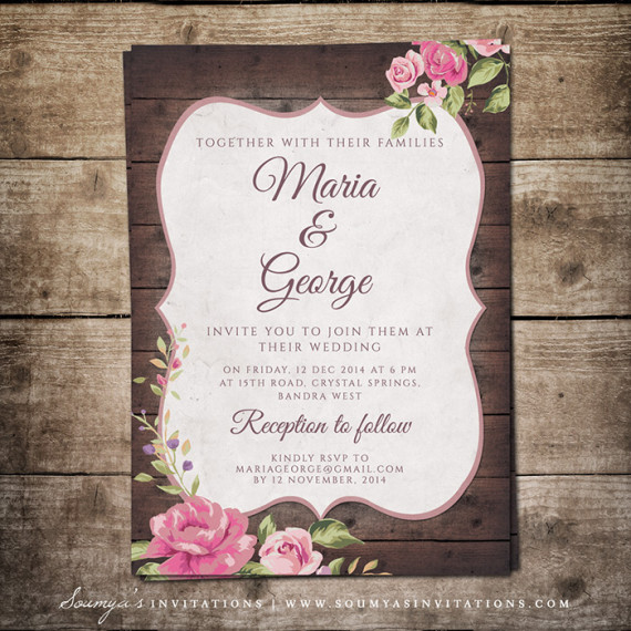 rustic country wedding invitation wood wedding invitation rustic floral wedding invite set wedding invitations soumyas invitations - Wood Wedding Invitations
