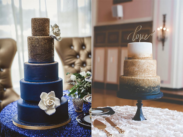 navy-and-gold-glitter-wedding-cake