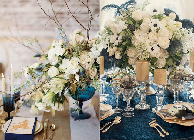 navy-and-gold-table-setting-flowers & Navy Blue and Gold Wedding Ideas and Inspiration « Wedding ...