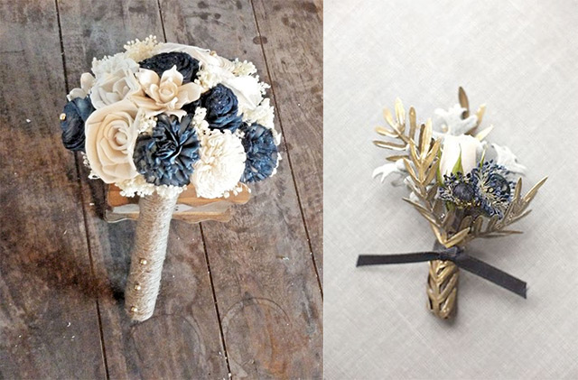 navy-and-gold-wedding-bouquet-boutonnieres