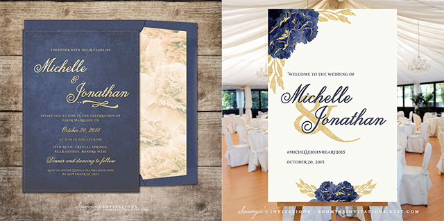 Navy And Gold Wedding Invitation Welcome Sign By