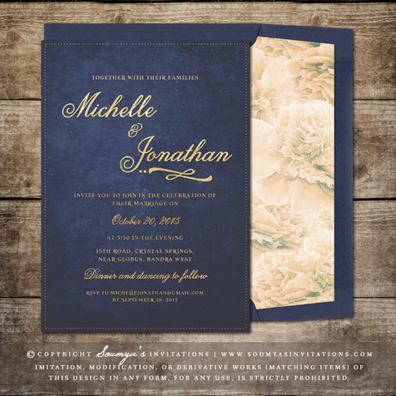 Navy Blue and Gold Wedding Invitation, Glitter Wedding Invitation ...