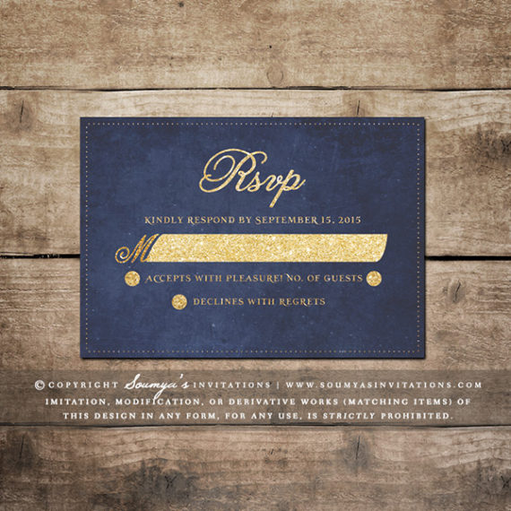 shop by color - Blue And Gold Wedding Invitations