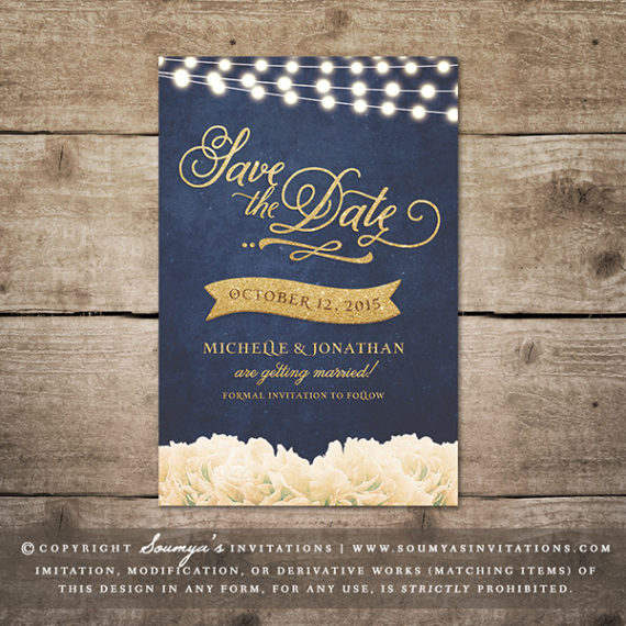 navy and gold wedding invitation dark blue and gold foil effect ...
