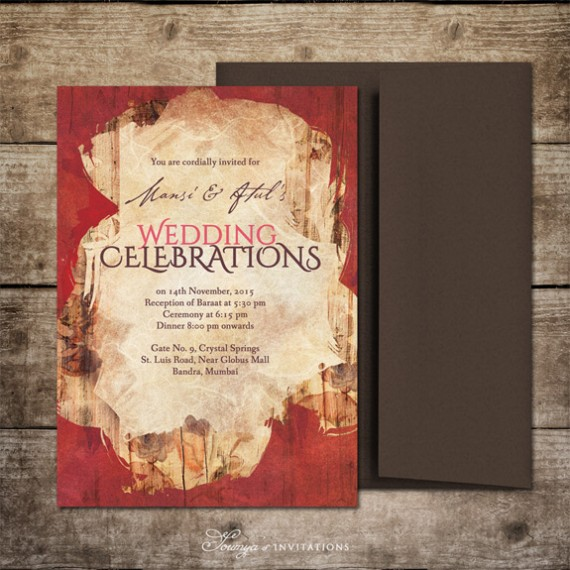 Red Gold And Brown Chocolate Indian Wedding Invitation, Watercolor Wedding  Invitation, Bohemian Wedding Invite, Maroon Wedding, Wine Wedding, ...