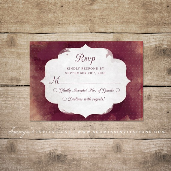 Red And Cream Indian Wedding Invitation Wine Watercolor