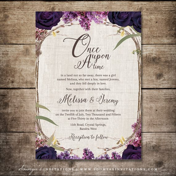 Delicieux Enchanted Forest Invitation, Purple Wedding Invitation, Fairy Tale Wedding  Invitation, Woodland Garden Wedding Invitation, Summer Dream Floral Wreath  Invite ...