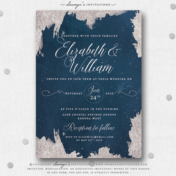 Navy Blue And Silver Star Wedding Invitation