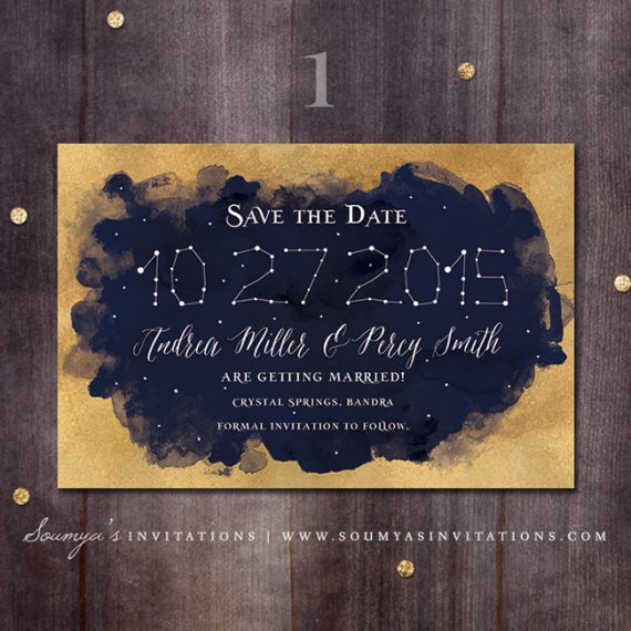 Starry Night Wedding Invitations with adorable invitations design