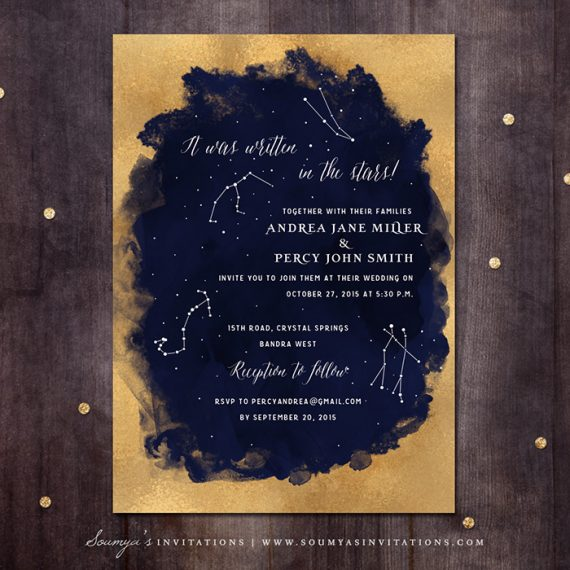 Constellation Wedding Invitation Gold And Navy Wedding Invitation