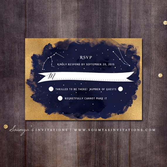 constellation wedding invitation  gold and navy wedding