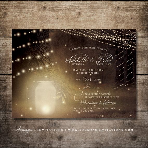 Rustic string lights tree country wedding invitation wedding - Spring Summer 171 Wedding Invitations Soumya S Invitations