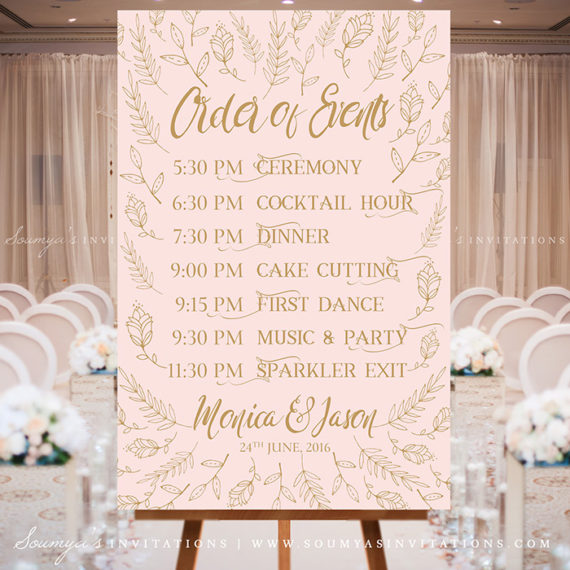 Blush Pink And Gold Wedding Signs Woodland Enchanted Forest Wedding