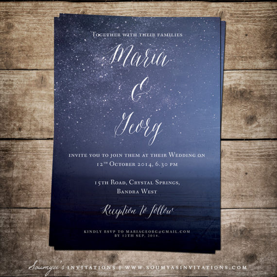 navy blue wedding invitation, starry night wedding invitation, Wedding invitations