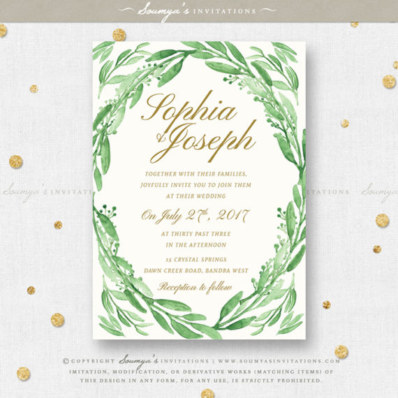 greenery green leaves wedding invitation set eucalyptus leaf garden wedding invitation set green gold white wedding invite tropical botanical foliage - White And Gold Wedding Invitations