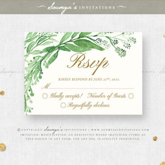 Greenery Green Leaves Wedding Invitation Set, Eucalyptus Leaf ...