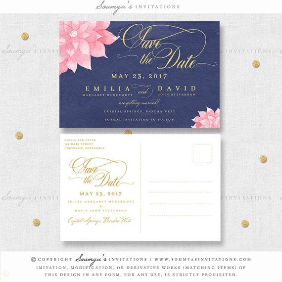 suite id bloom love bloom - Navy And Blush Wedding Invitations