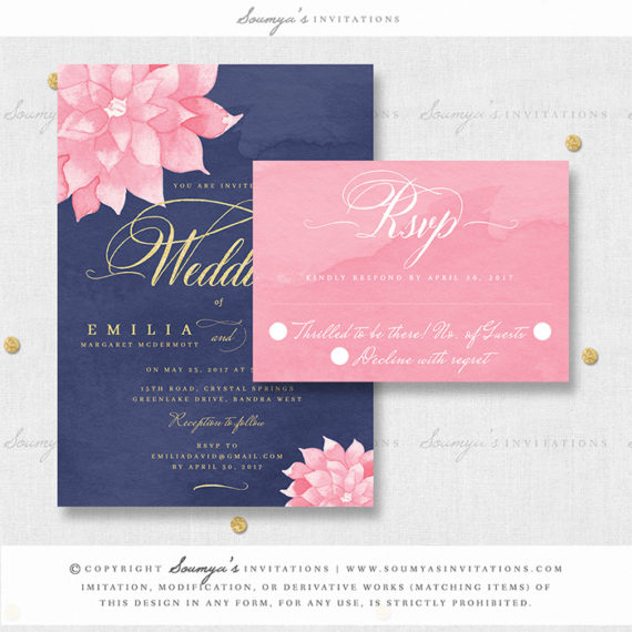 Navy Blue Blush Pink Watercolor Wedding Invitation Navy