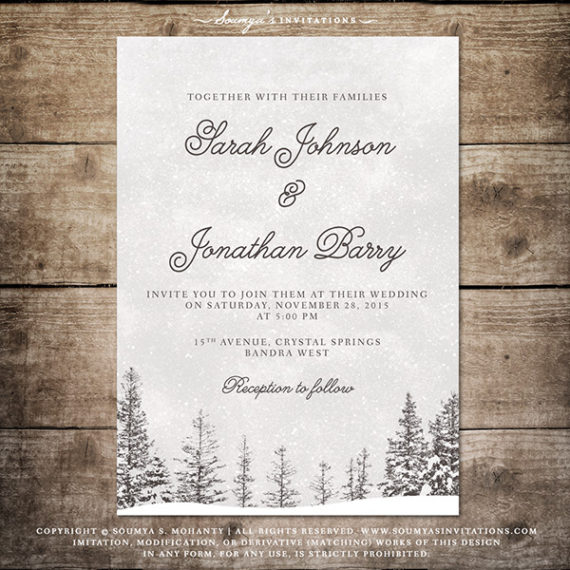 Winter Wedding Invitation Snowflake Wedding Invitation Winter
