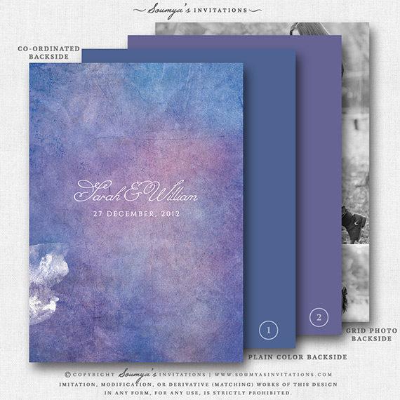 blue purple lilac wedding invitation  watercolor wedding