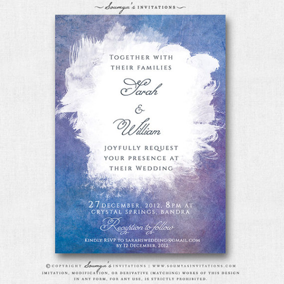 Blue Purple Lilac Wedding Invitation, Watercolor Wedding Invitation ...