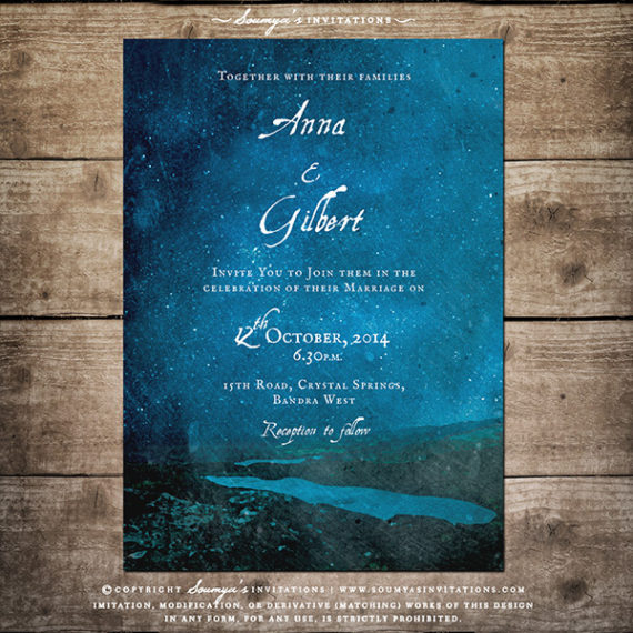 blue starry night celestial wedding invitation mountain lake forest