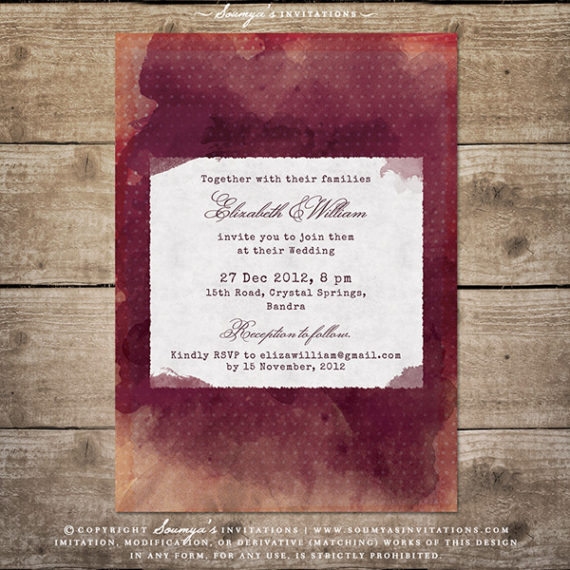 Burgundy Red Wine Watercolor Wedding Invitation Vineyard Winery