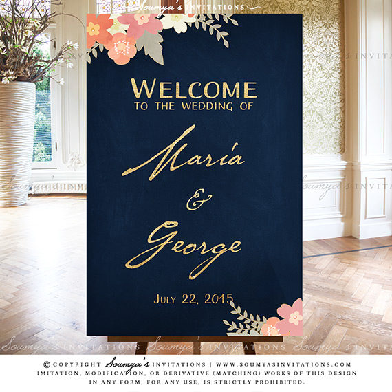 Navy Blue And Gold Blush Pink Coral Peach Wedding Signs Rustic