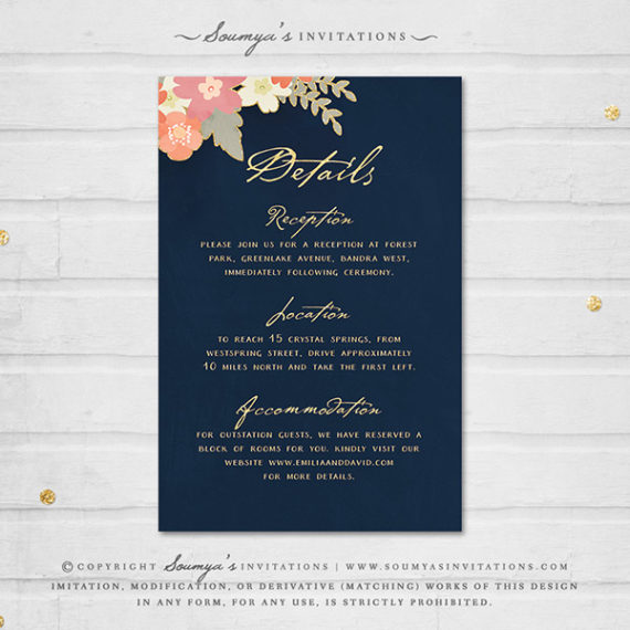 navy blue and gold wedding invitation navy blush pink coral peach