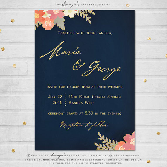 Navy Blue And Gold Wedding Invitation, Navy Blush Pink
