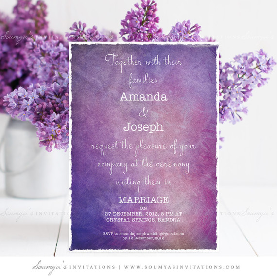purple wedding invitation  galaxy wedding invitation