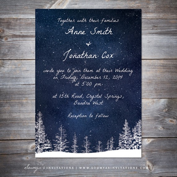 Winter Wedding Invitation Snow Wedding Navy Blue Wedding