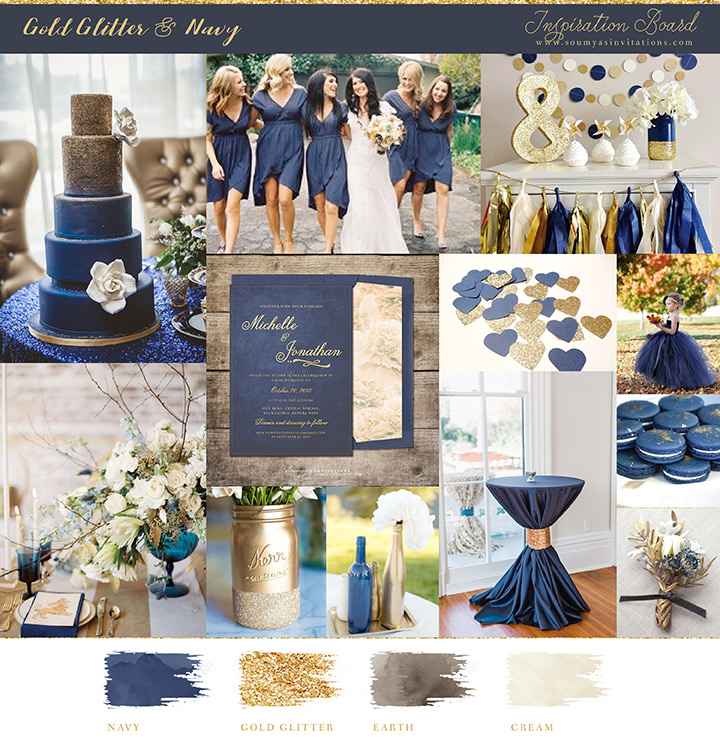 Navy And Gold Wedding Mood Board Inspiration