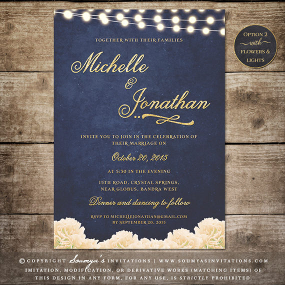 Navy Blue And Gold Wedding Invitation Glitter Wedding
