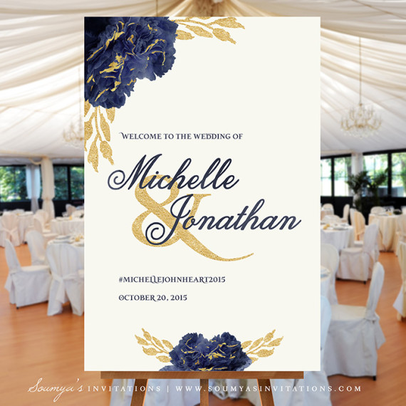 Navy Blue And Gold Wedding Invitations: Welcome Wedding Sign, Gold And Navy Wedding Welcome Sign