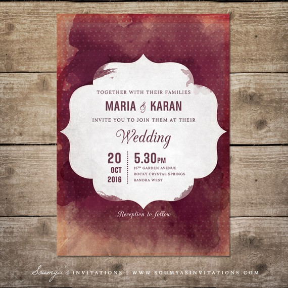 Red And Cream Indian Wedding Invitation Wine Watercolor Wedding