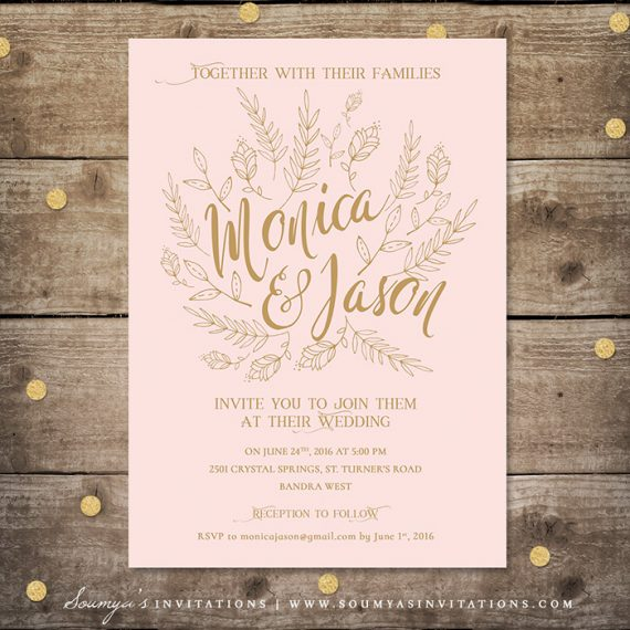 Blush Pink And Gold Wedding Invitation Fairy Tale Woodland Calligraphy Invite Rsvp Save The Date Thank You