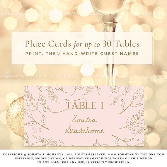 Blush Pink and Gold Wedding Signs, Woodland Enchanted ...