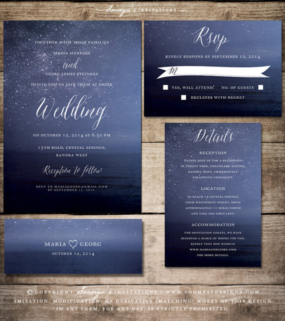 navy blue wedding invitation  starry night wedding