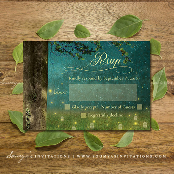 Enchanted Forest Wedding Invitation Set, Garden Lights ...