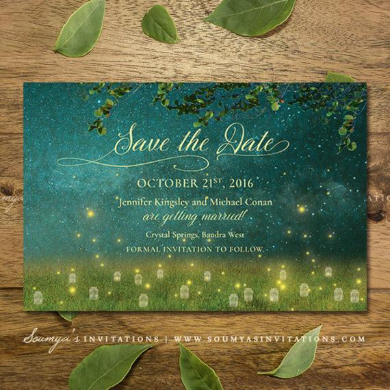 Enchanted Forest Wedding Invitation Set Garden Lights
