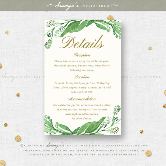 greenery green leaves wedding invitation set  eucalyptus