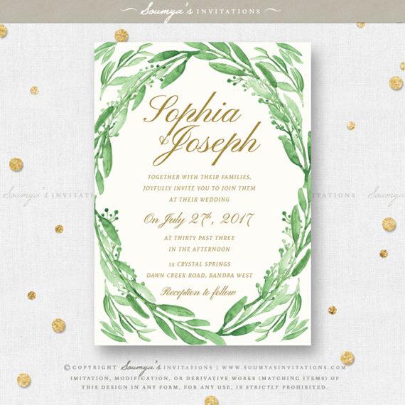 Greenery Green Leaves Wedding Invitation Set, Eucalyptus