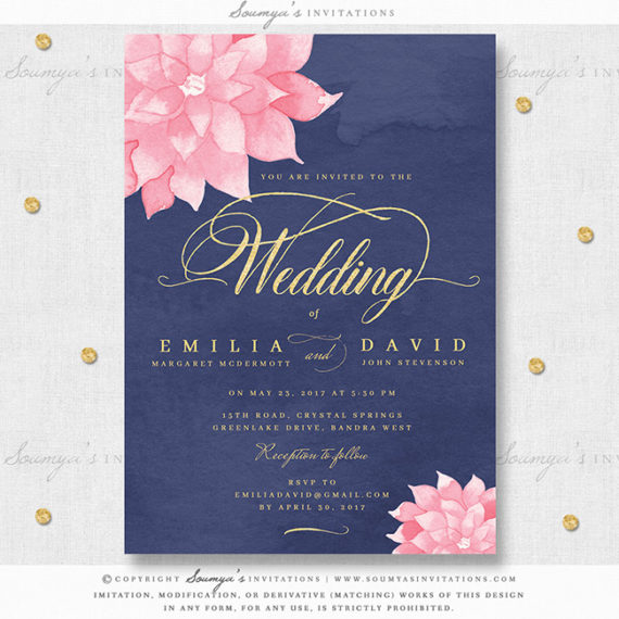 Blue And Pink Wedding Ideas: Navy Blue Blush Pink Watercolor Wedding Invitation, Navy