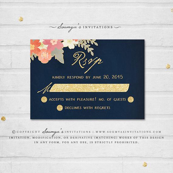 Navy And Peach Wedding Invitations: Navy Blue And Gold Wedding Invitation, Navy Blush Pink