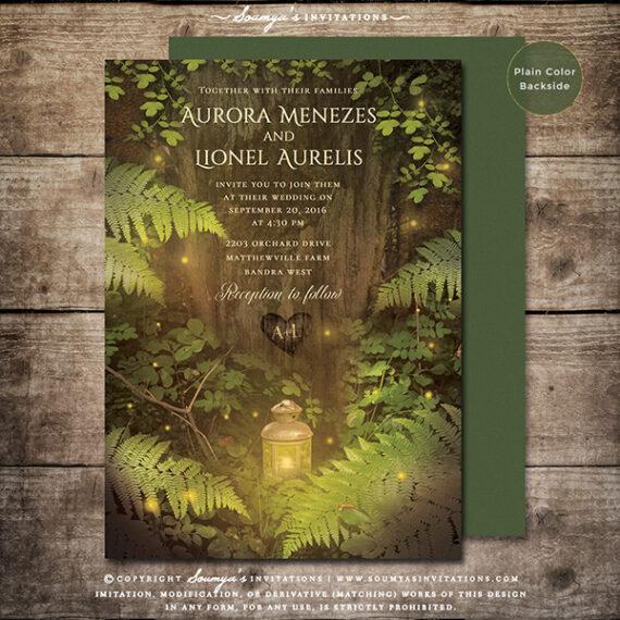 Enchanted Forest Fairy Tale Wedding Invitation Secret Garden